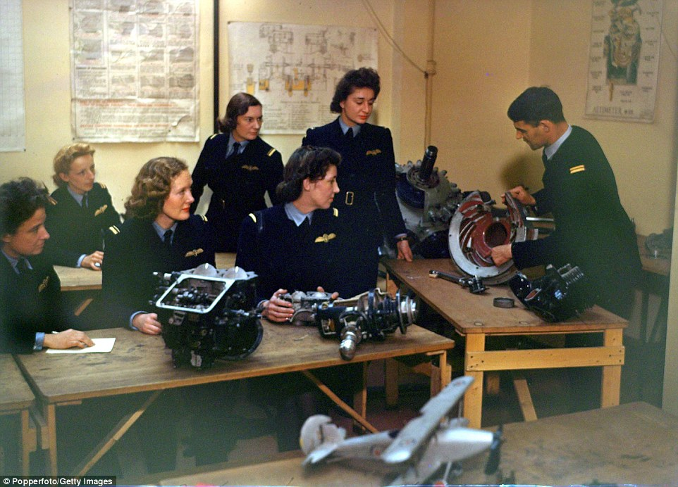 Theory ATA training also included aircraft and engine theory and was taught at Thame. A 1942 lesson pictured Getty Images